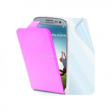 Kožené pouzdro flap MUVIT Slim pro Samsung Galaxy S4, růžové + fólie na displej