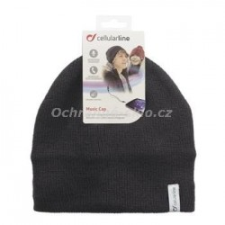 Zimní čepice CellularLine Music Cap s integrovanými sluchátky, konektor 3,5mm jack, černá