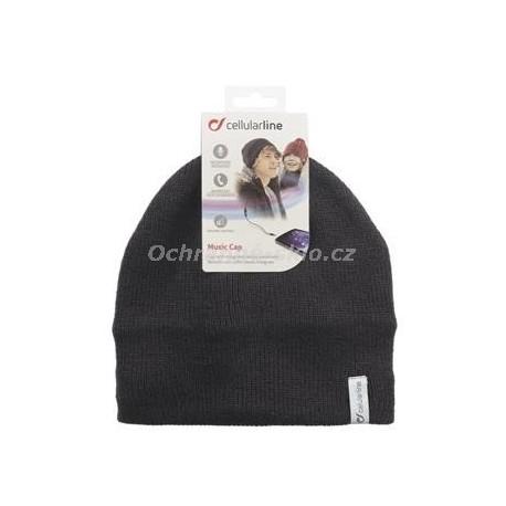 Zimní čepice CellularLine Music Cap s integrovanými sluchátky, konektor 3,5mm jack, černá 2