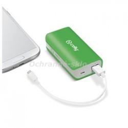 Powerbanka CELLY s USB výstupem, microUSB kabelem a LED svítilnou, 4000 mAh, 1A, zelená