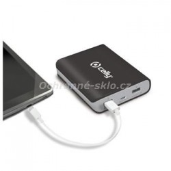 Powerbanka CELLY s 2x USB výstupem, microUSB kabelem a LED svítilnou, 8000 mAh, 2.1A, černá
